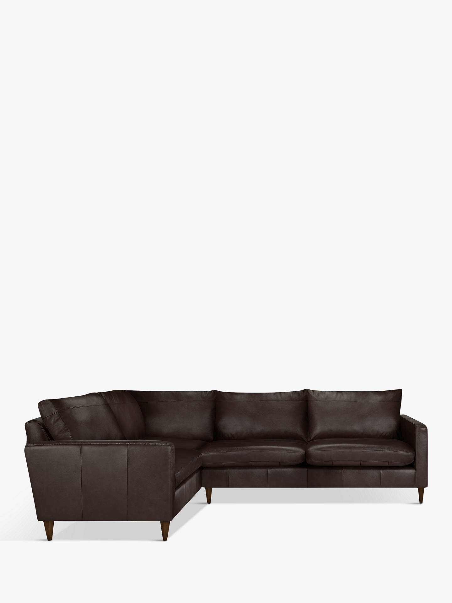BuyJohn Lewis & Partners Bailey Leather RHF Corner End Sofa, Dark Leg, Demetra Charcoal Online at johnlewis.com