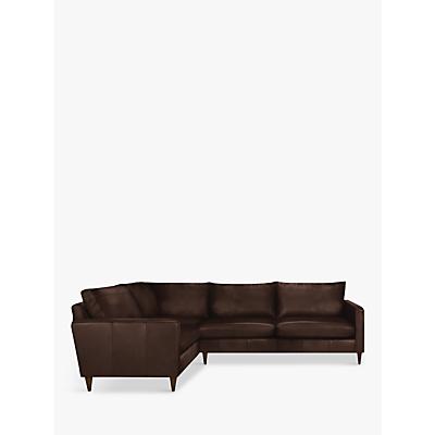 John Lewis Bailey Leather RHF Corner End Sofa, Dark Leg
