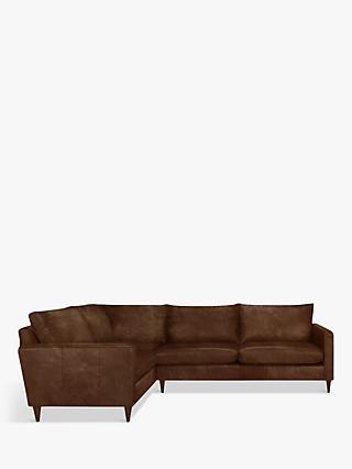 John Lewis Partners Bailey Leather Rhf Corner End Sofa Dark Leg