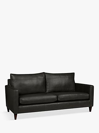 John Lewis & Partners Bailey Large 3 Seater Leather Sofa, Dark Leg