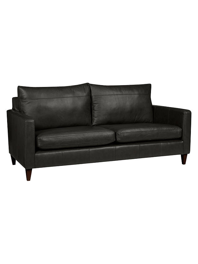 John Lewis & Partners Bailey Large 3 Seater Leather Sofa, Dark Leg, Winchester Anthracite