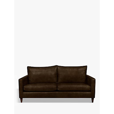John Lewis Bailey Leather Large 3 Seater Sofa, Dark Leg