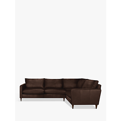 John Lewis Bailey Leather LHF Corner End Sofa, Dark Leg
