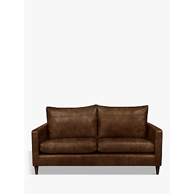 John Lewis Bailey Leather Medium 2 Seater Sofa, Dark Leg