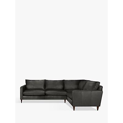 John Lewis Bailey Leather LHF Corner End Sofa, Dark Leg