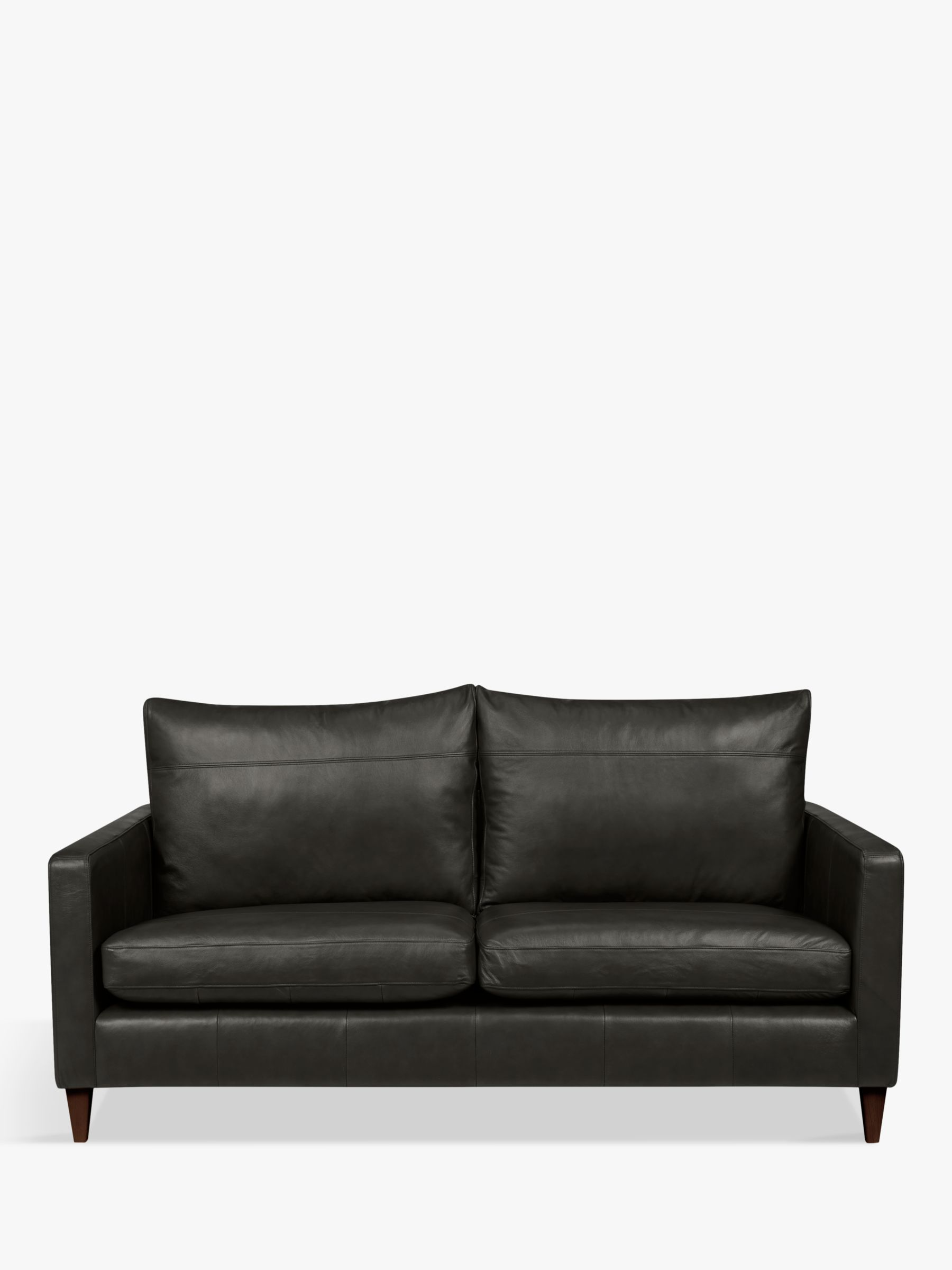 John Lewis & Partners Bailey Medium 2 Seater Leather Sofa, Dark Leg, Winchester Anthracite