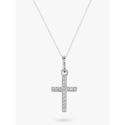 Image of EWA 9ct White Gold Diamond Cross Pendant Necklace