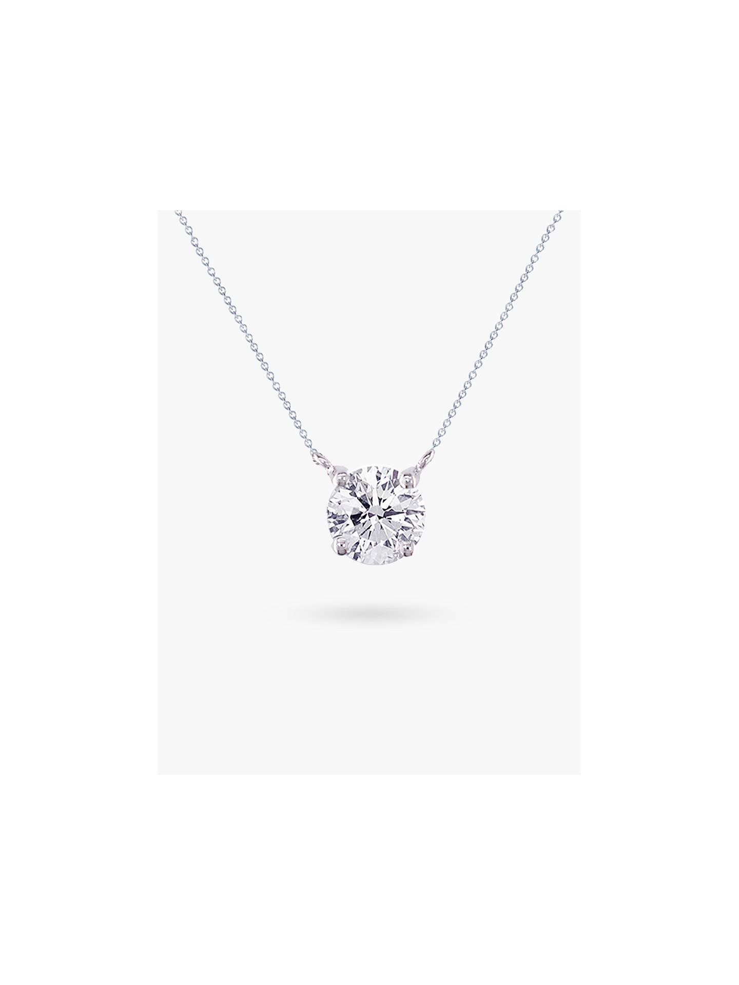 1bdd7de8f26569 Buy E.W Adams 18ct White Gold Solitaire Diamond Pendant Necklace Online at  johnlewis.com
