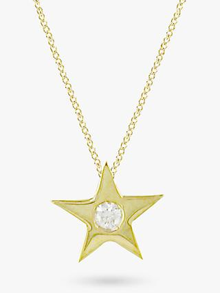 E.W Adams 9ct Gold Star Diamond Set Pendant Necklace, Yellow Gold