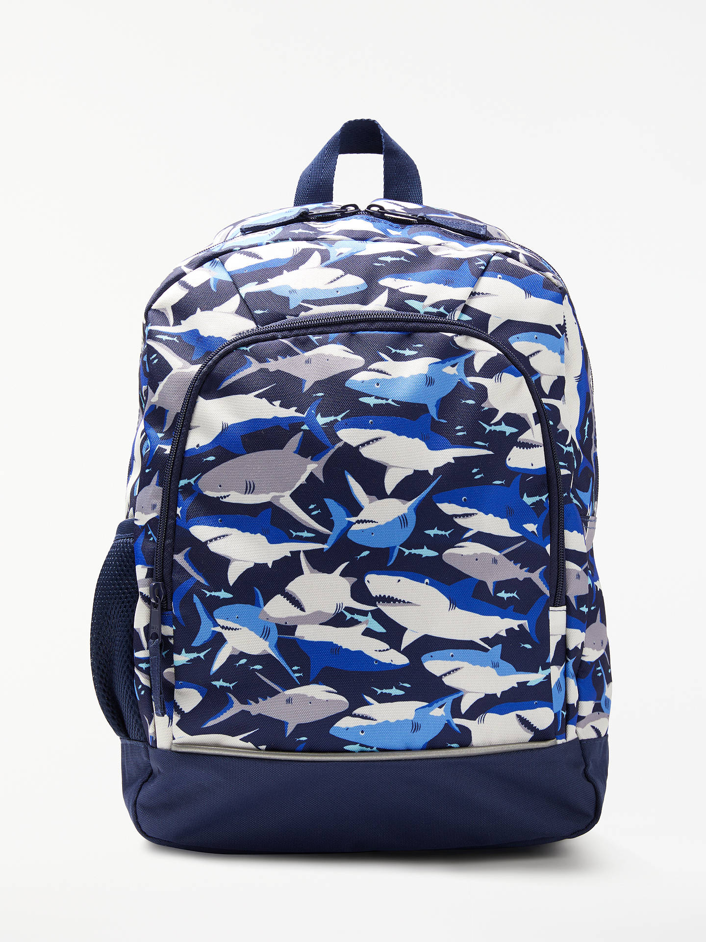 9dabd9fe55d8 John Lewis & Partners Children's Shark Print Backpack, Navy/Multi