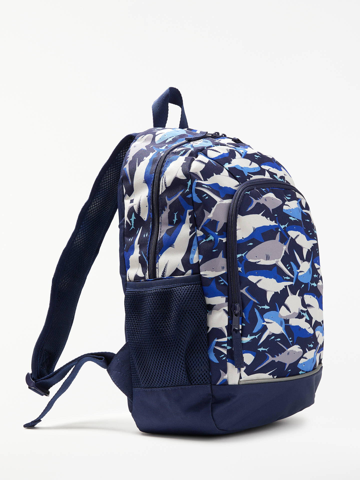 BuyJohn Lewis & Partners Children's Shark Print Backpack, Navy/Multi Online at johnlewis.com