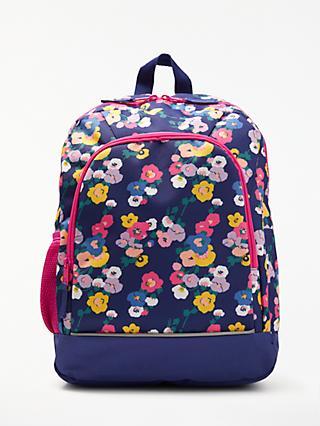 John Lewis & Partners Children's Floral Print Backpack, NavyMulti