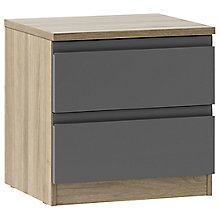 Buy House by John Lewis Mix it 2 Drawer Bedside Chest, Matt Graphite/Grey Ash Online at johnlewis.com