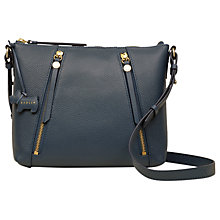 Buy Radley Fountain Road Small Leather Zip Top Cross Body Bag, Petrol Online at johnlewis.com