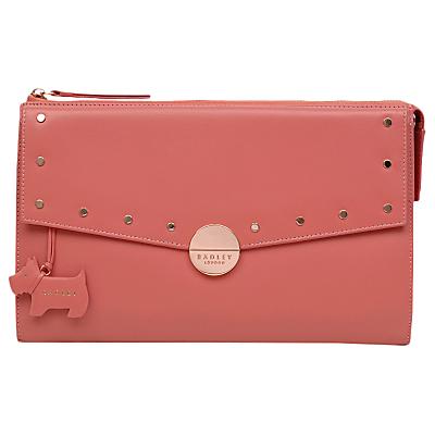 Radley Broad Street Leather Studded Large Clutch Bag, Coral