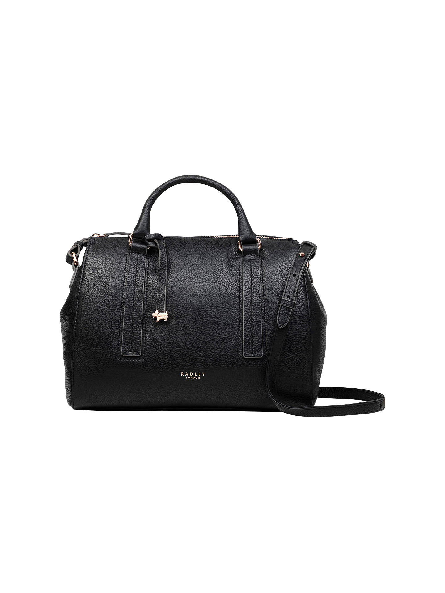 Radley Globe Road Leather Medium Grab Bag Black Online At Johnlewis