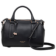 Buy Radley Globe Road Leather Small Grab Bag, Black Online at johnlewis.com