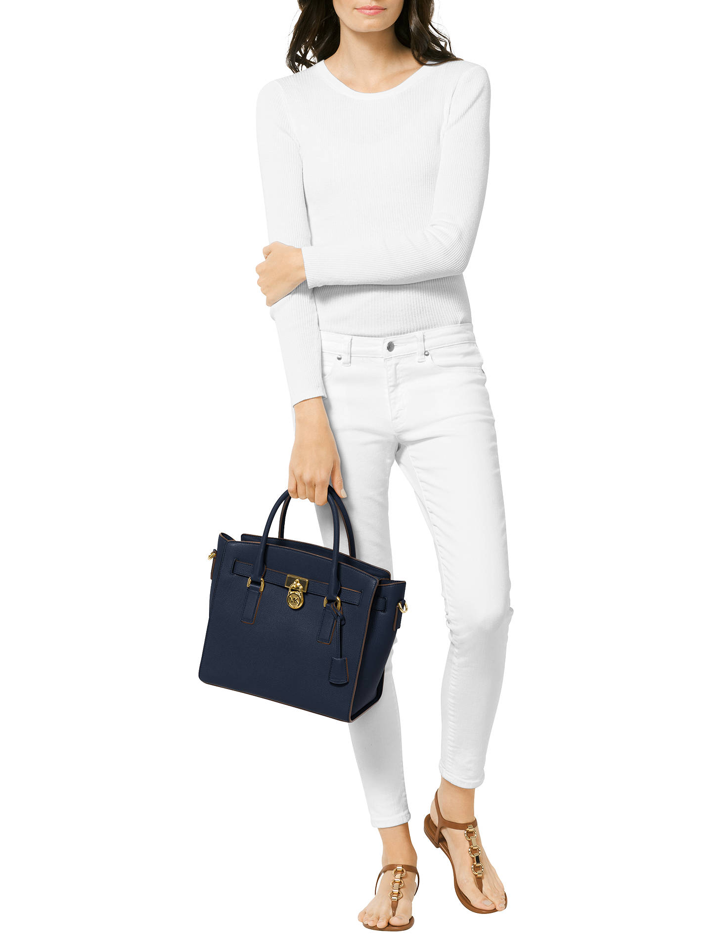 7b9bc5a67e50fd ... Buy MICHAEL Michael Kors Hamilton Leather Large East/West Tote Bag,  Admiral Online at
