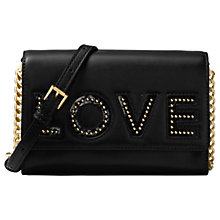 Buy MICHAEL Michael Kors Ruby Leather 'Love' Clutch Bag, Black Online at johnlewis.com
