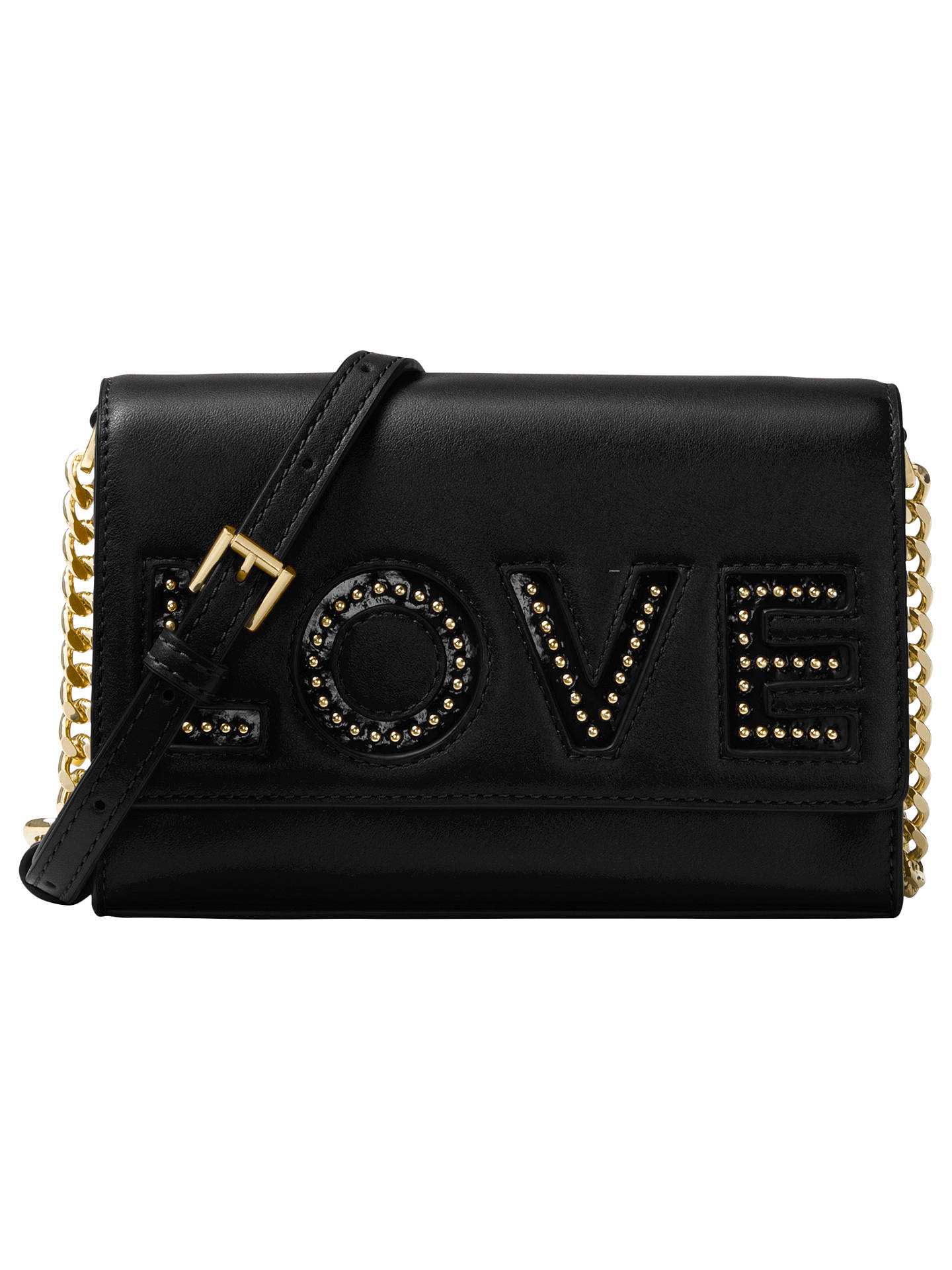 16b93b7c33cc Buy MICHAEL Michael Kors Ruby Leather 'Love' Clutch Bag, Black Online at  johnlewis ...