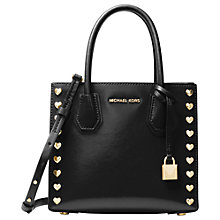 Buy MICHAEL Michael Kors Mercer Leather Heart Studded Tote Bag, Black Online at johnlewis.com