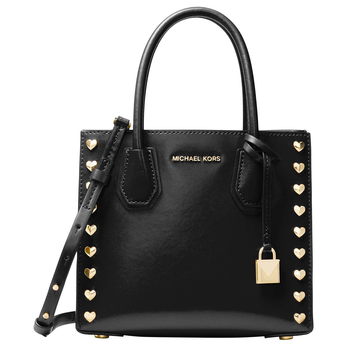 Michael Kors Mercer Leather Heart Studded Tote Bag Black Online At Johnlewis