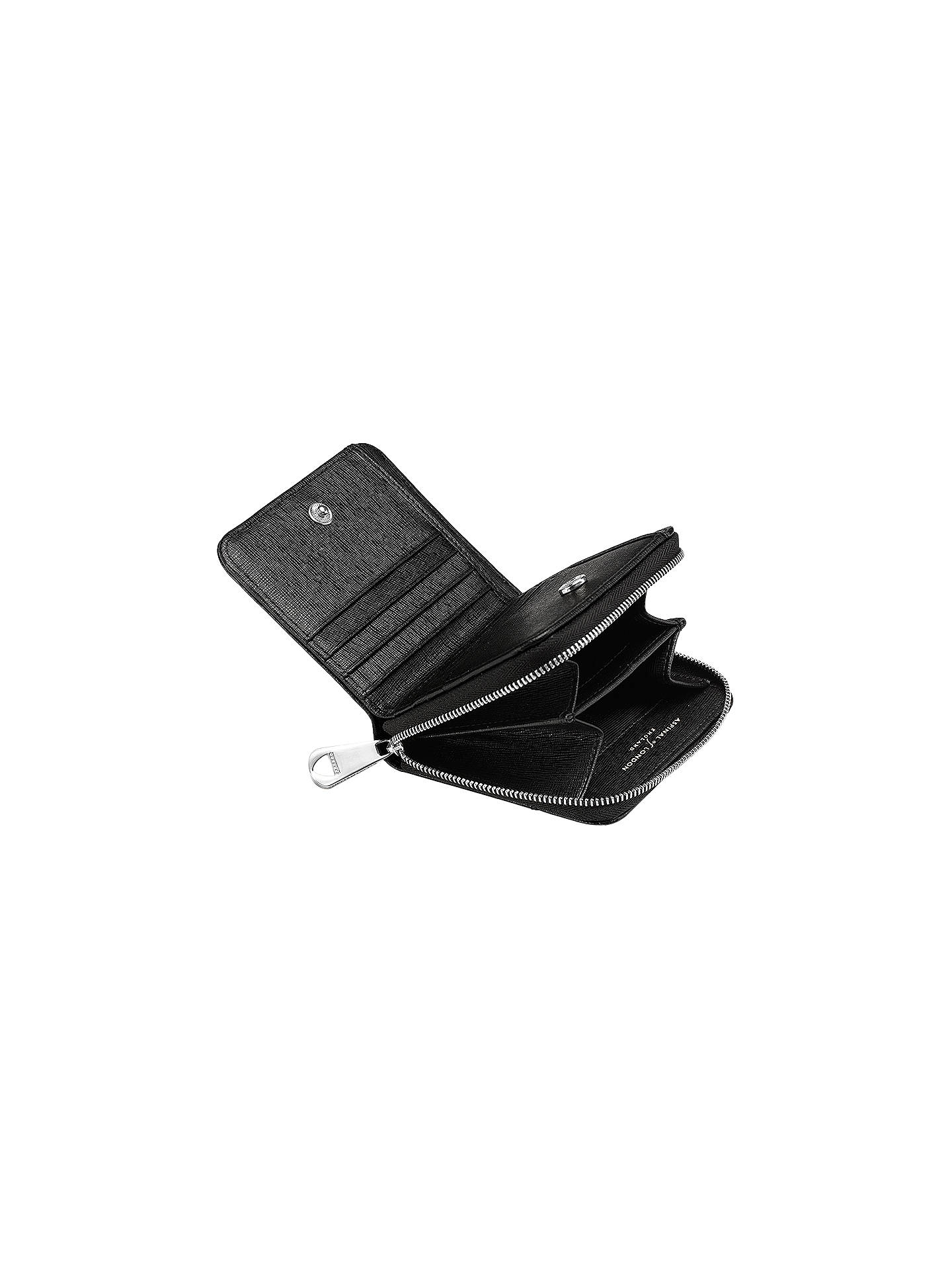 Buy Aspinal of London Leather Continental Small Clutch Purse, Black Online at johnlewis.com