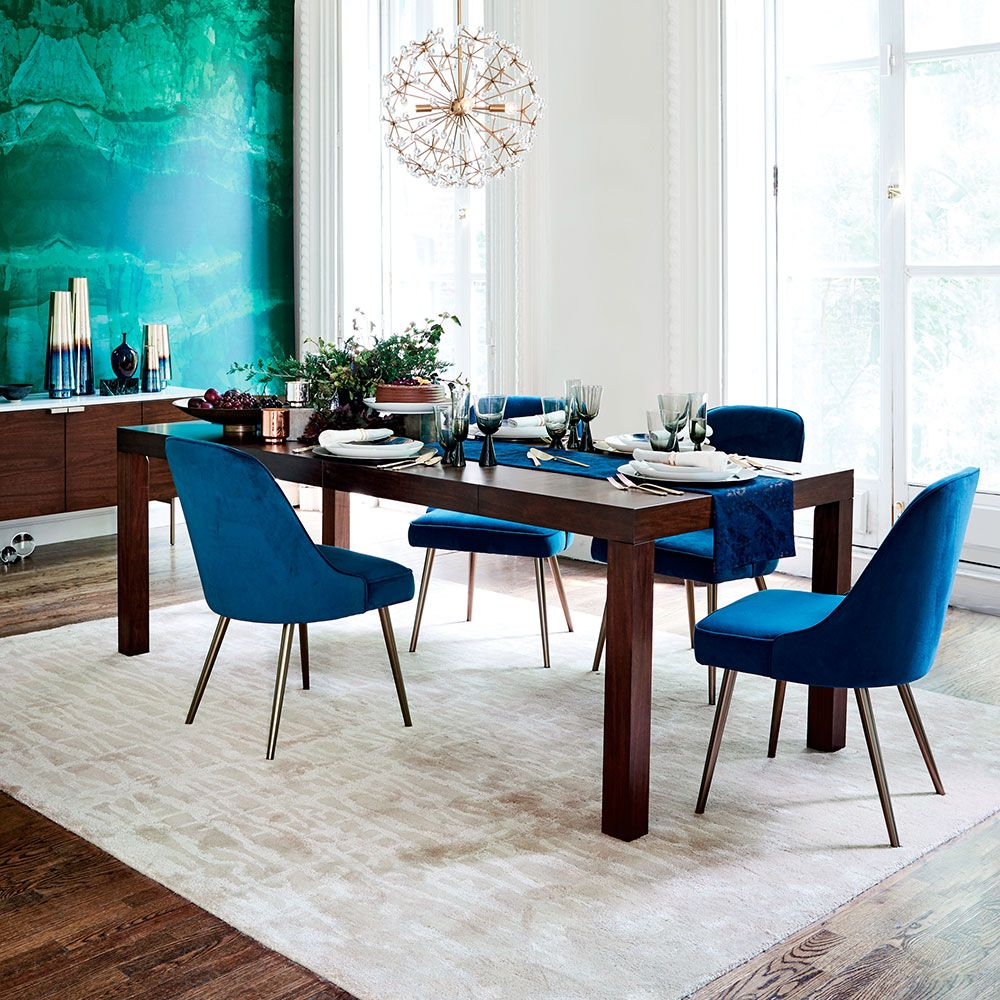 Picture of: West Elm Mid Century Velvet Dining Chair Lagoon Blue At John Lewis Partners