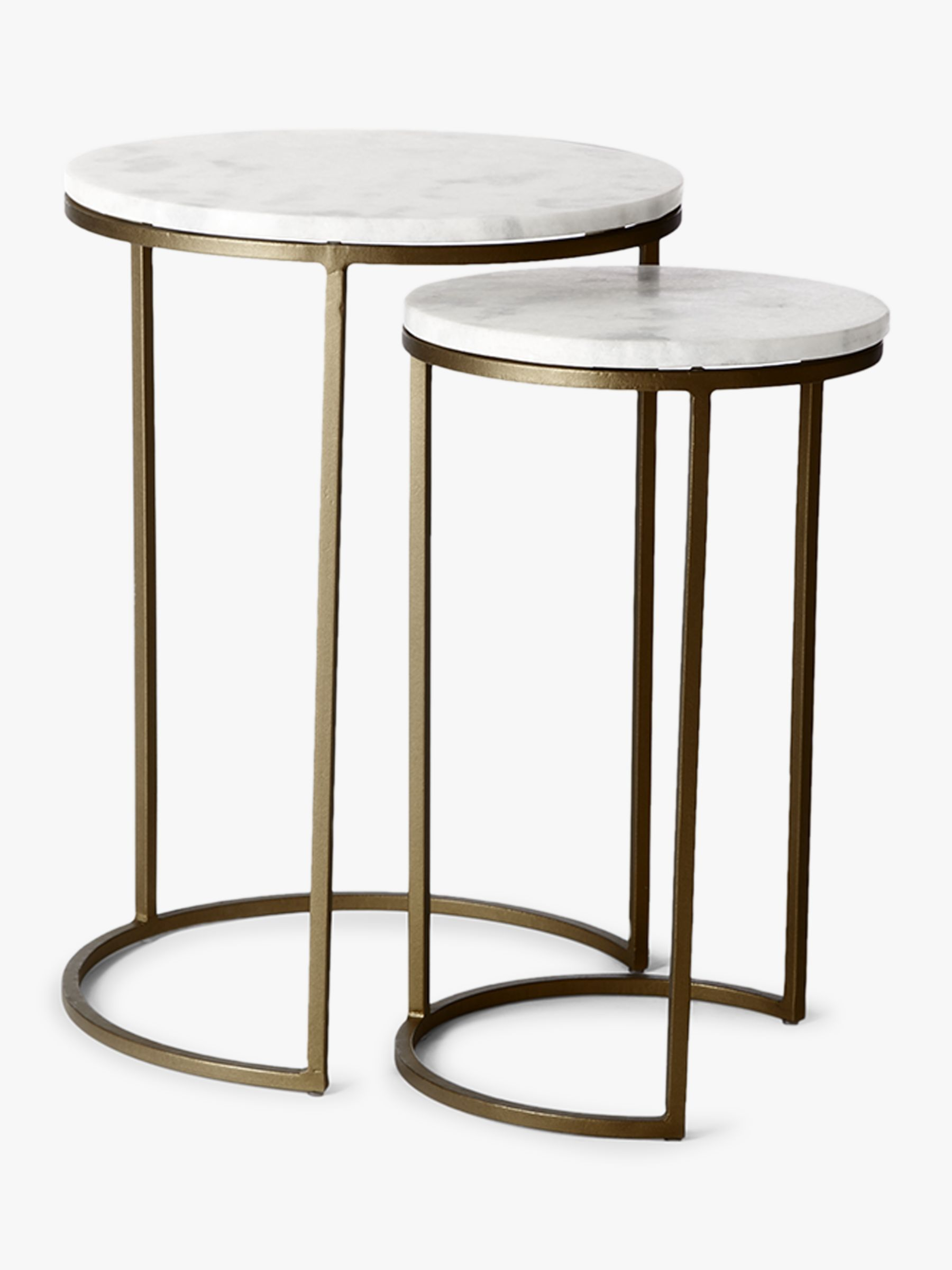 Picture of: West Elm Round Marble Nesting Side Table White Brass At John Lewis Partners