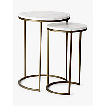 Buy west elm Round Nesting Side Table, Marble / Antique Brass Online at johnlewis.com