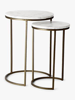 West Elm Round Nesting Side Table Marble Antique Brass