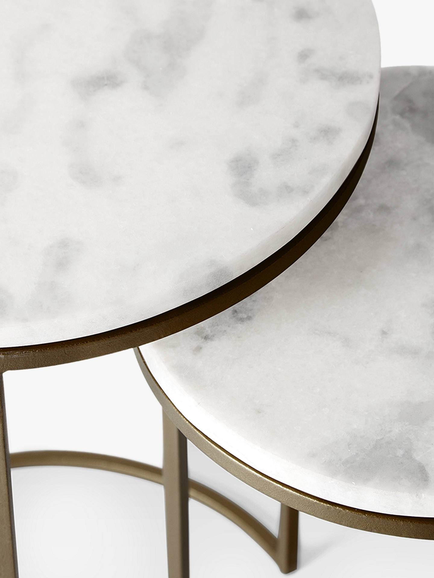 West Elm Round Nesting Side Table Marble Antique Br Online At Johnlewis