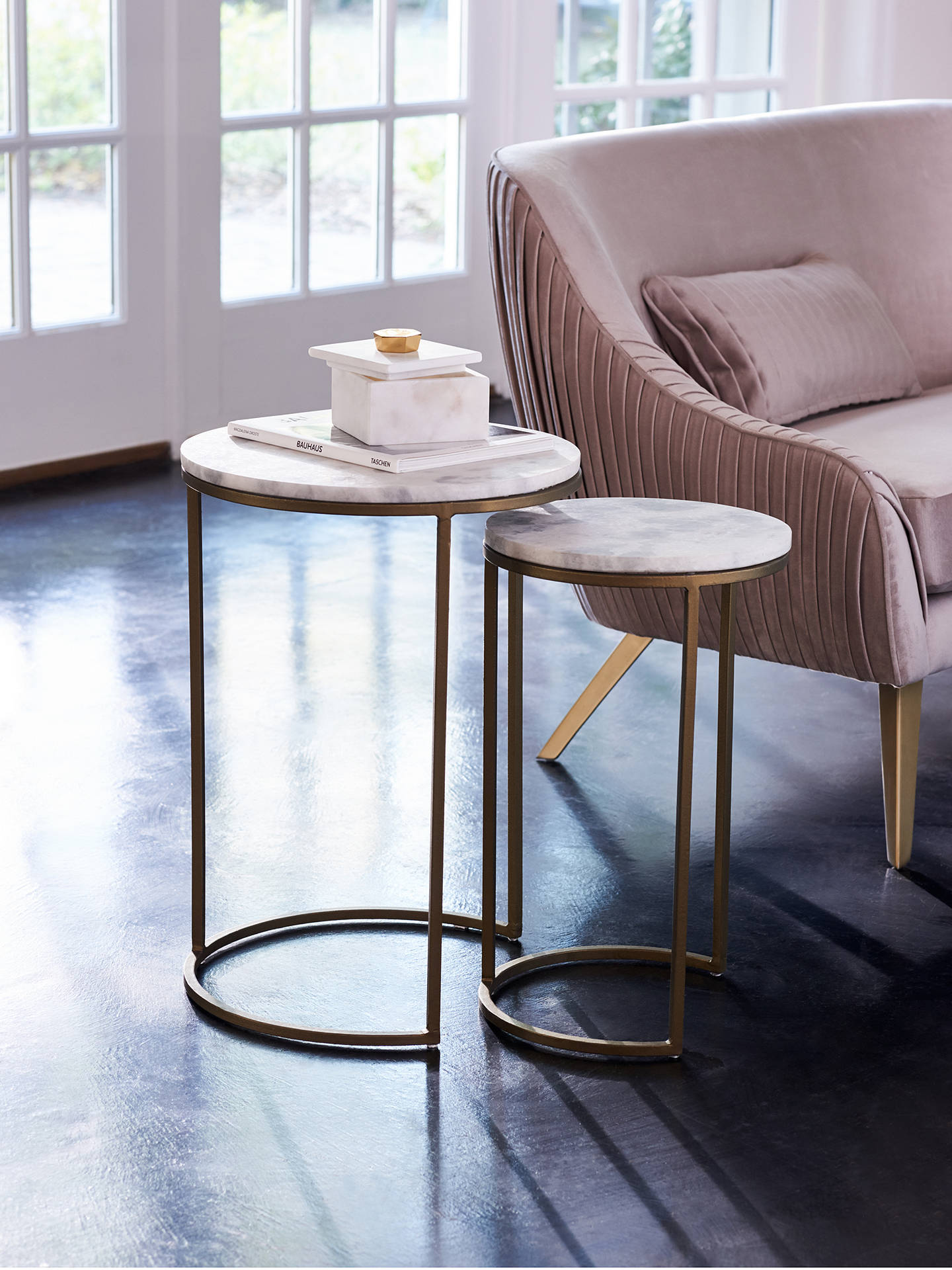 west elm round marble nesting side table white burnished bronze
