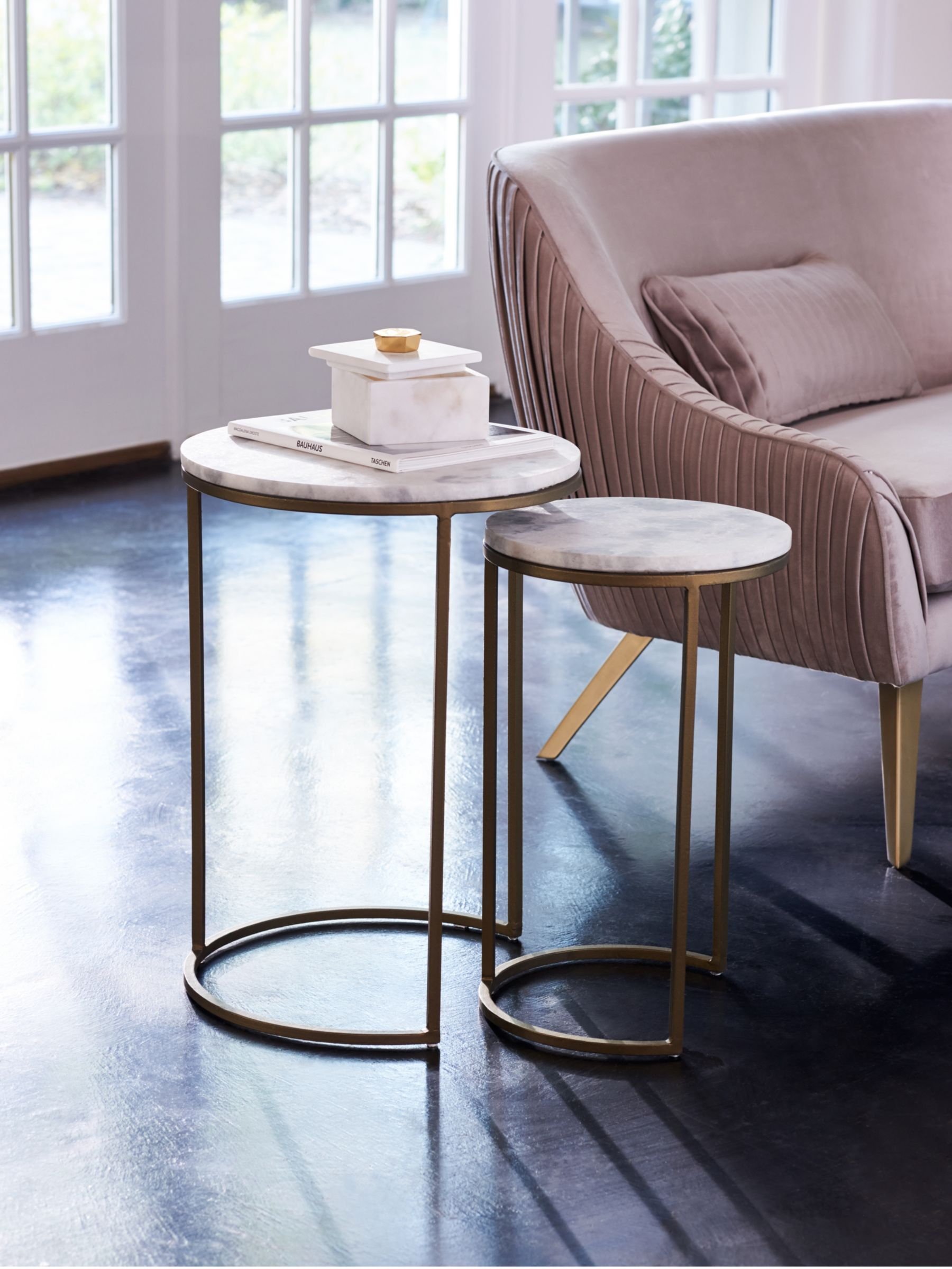 West Elm Round Marble Nesting Side Table White Brass At John Lewis Partners