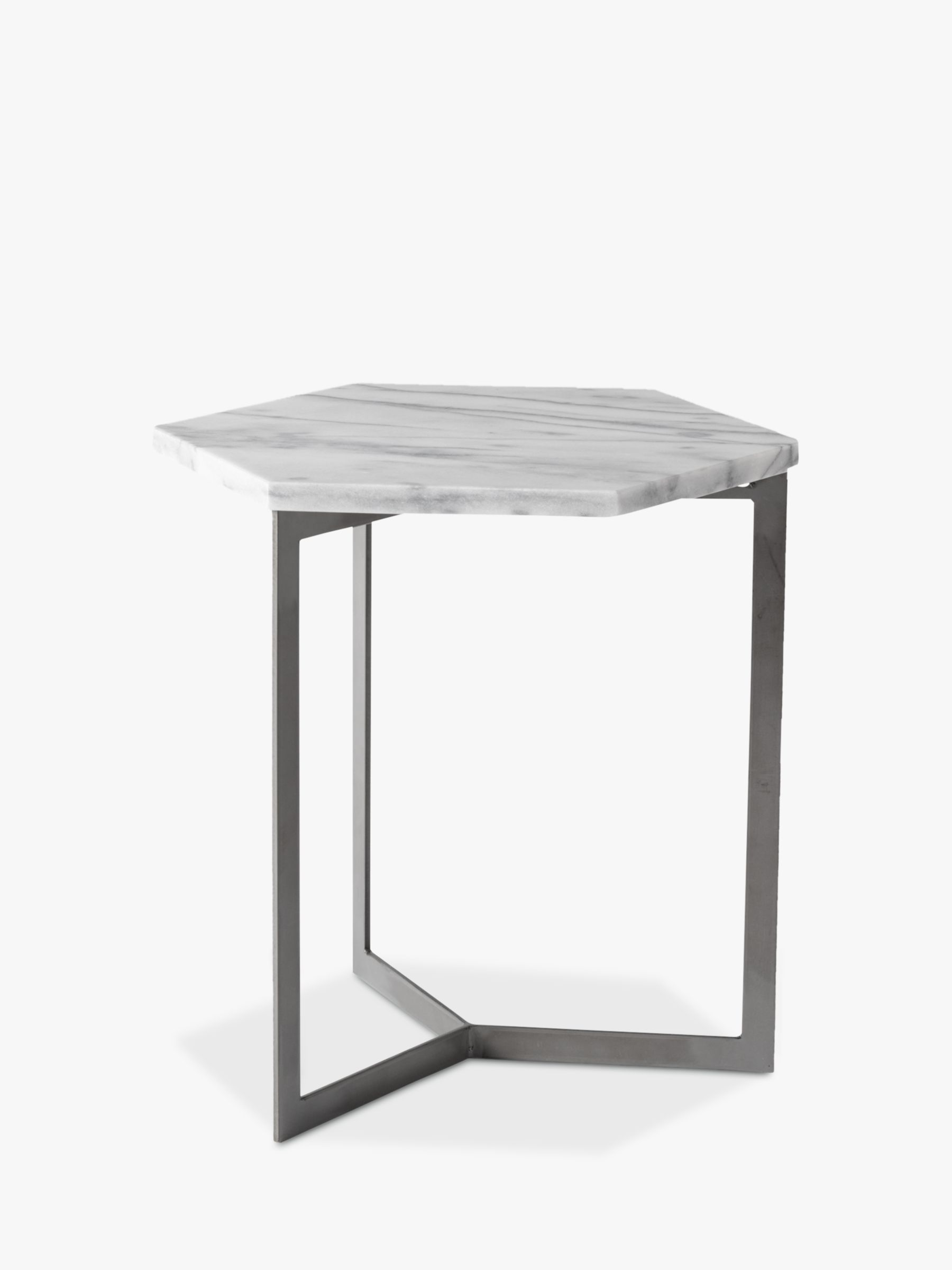 West Elm Hex Side Table White Marble Steel