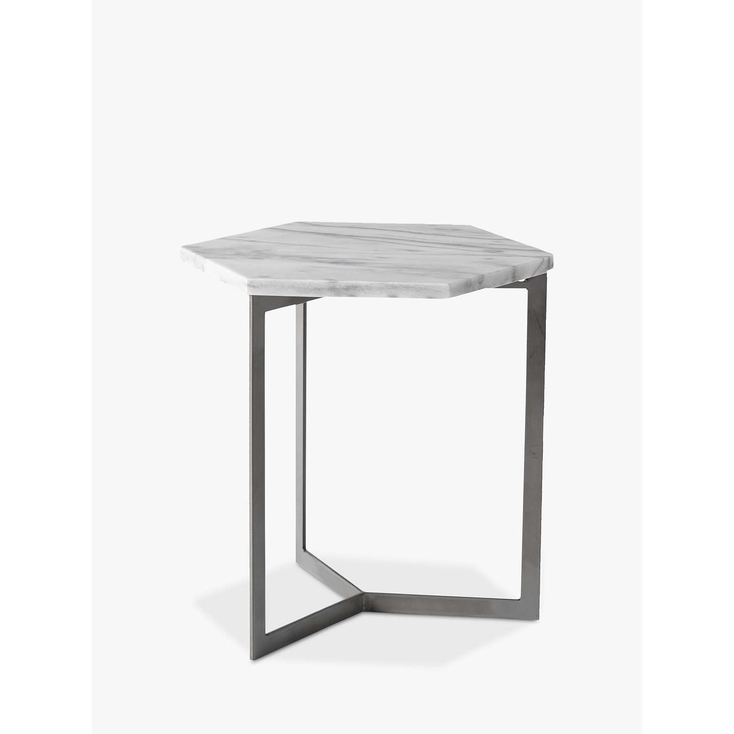 West Elm Hex Side Table White Marble Steel At Johnlewis Com