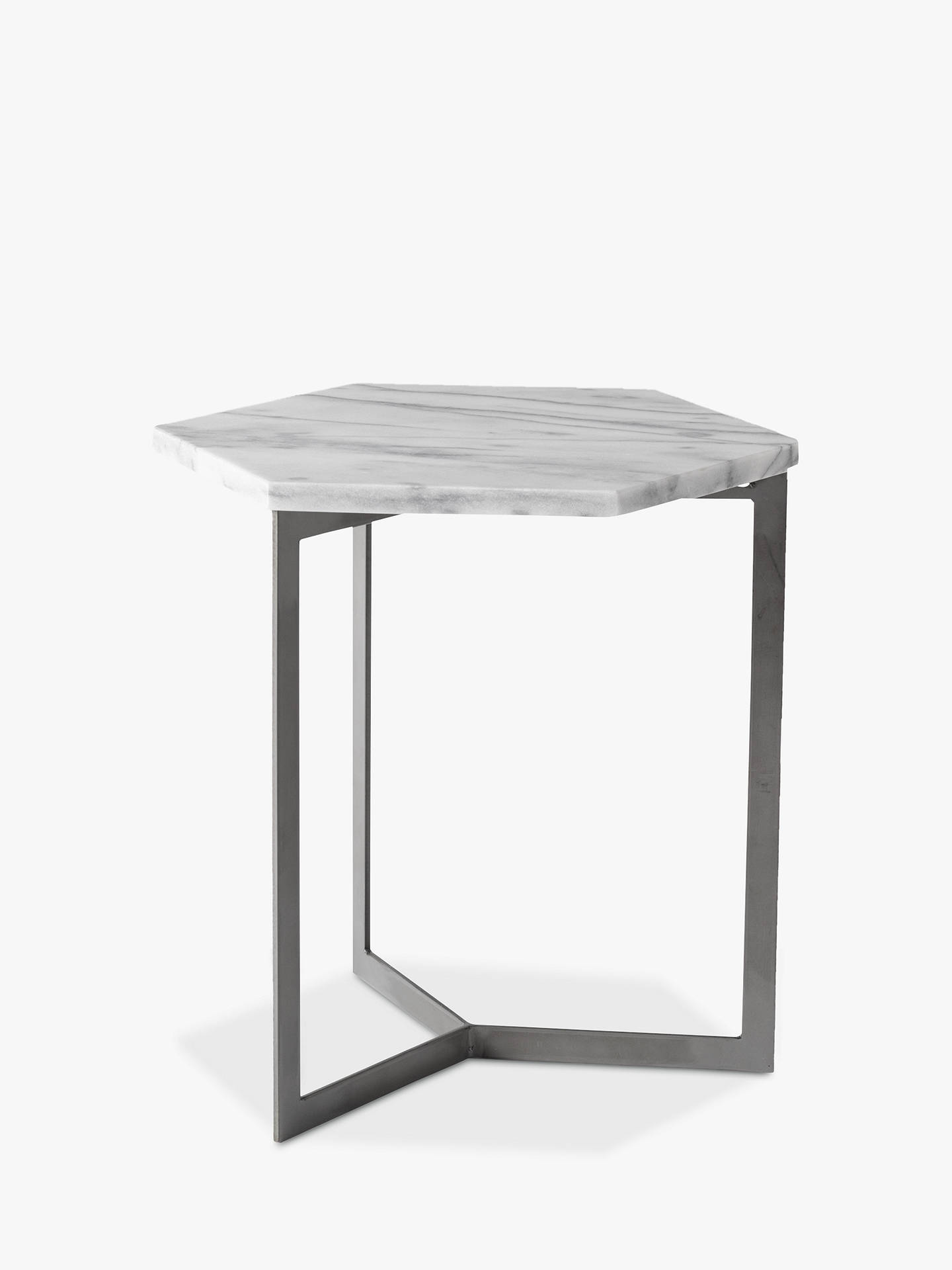 the latest b1dd4 bde8c west elm Hex Side Table, White Marble/Steel