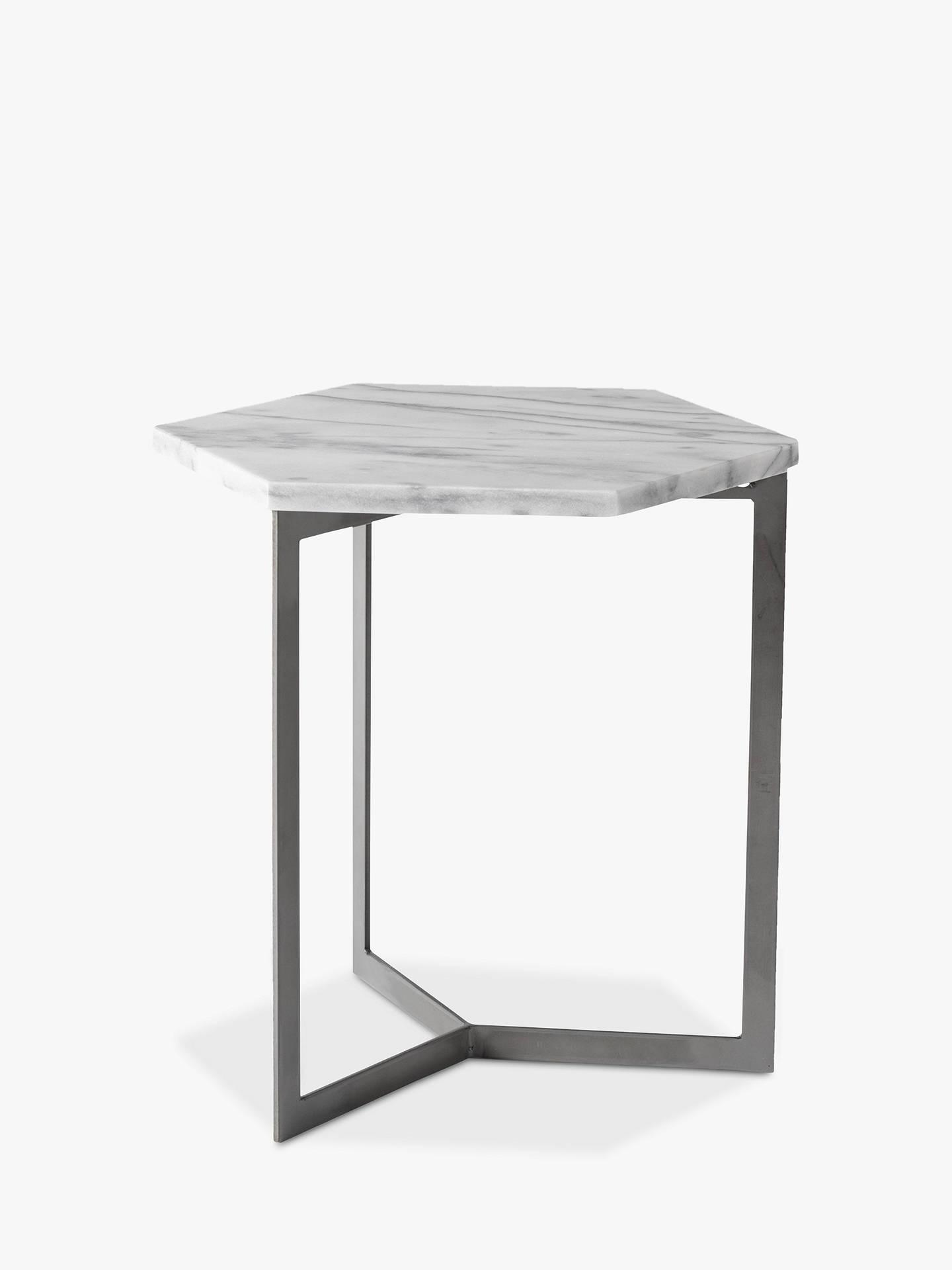 west elm hex side table white marble steel at john lewis partners. Black Bedroom Furniture Sets. Home Design Ideas