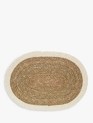 Buy Gone Rural White Edge Oval Placemat, Natural/White, 32cm Online at johnlewis.com