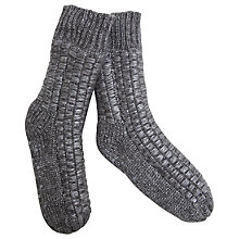 Buy Hygge by Mint Velvet Cable Knit Slipper Socks, Charcoal Online at johnlewis.com