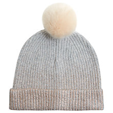 Buy Mint Velvet Foil Printed Pom Pom Hat, One Size, Light Grey Online at johnlewis.com