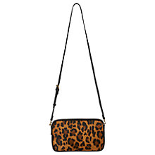 Buy Whistles Cornelia Triple Zip Leather Bag, Leopard Print Online at johnlewis.com