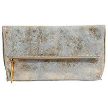 Buy Jigsaw Alexis Leather Foldover Clutch, Gold Online at johnlewis.com