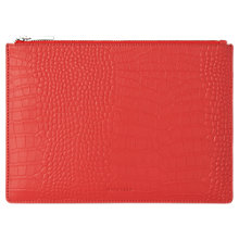 Buy Whistles Matte Croc Medium Leather Clutch Bag, Red Online at johnlewis.com