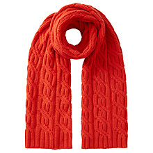 Buy Jigsaw Wool and Cashmere Blend Cable Knit Scarf Online at johnlewis.com