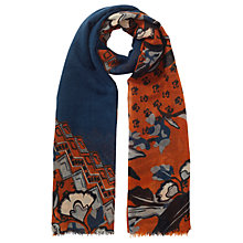 Buy Jigsaw Nordic Floral Wool Scarf, Warm Spice Online at johnlewis.com