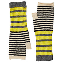 Buy Jigsaw Kilda Striped Fingerless Mittens, Grey/Multi Online at johnlewis.com
