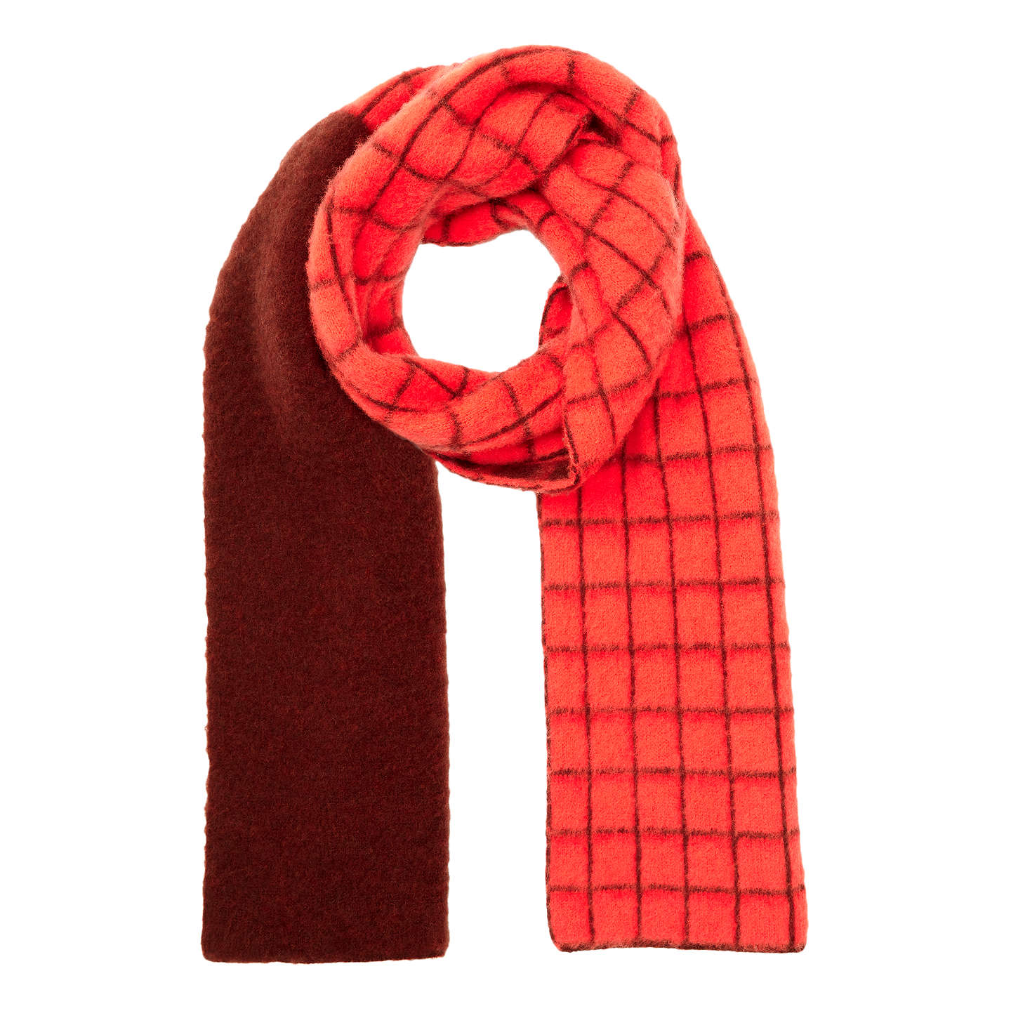 Buyjigsaw Nevis Grid Brushed Wool Scarf, Warm Spice Online At