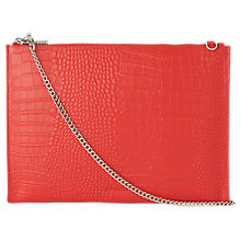 Buy Whistles Rivington Croc Textured Leather Clutch Bag, Red Online at johnlewis.com