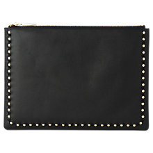 Buy Whistles Rivington Studded Leather Clutch Bag, Black Online at johnlewis.com